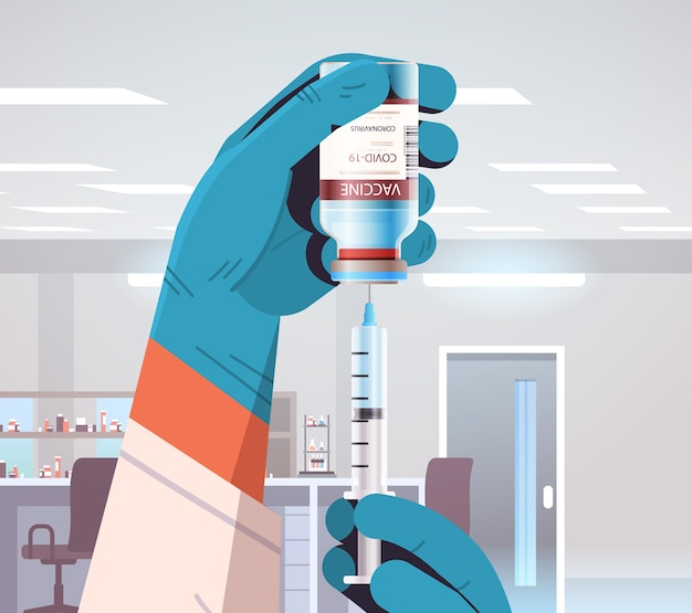 注射器とボトルバイアルワクチン開発を保持している研究室の研究者で新しいコロナウイルスワクチンを開発している科学者は、covid-19の概念図と戦います