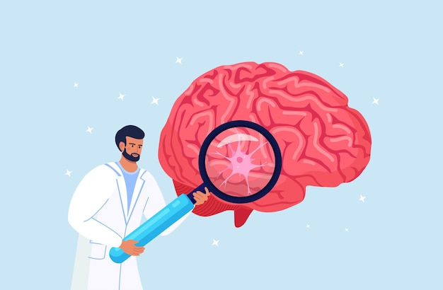 Scientist or doctor holding magnifying glass with nerve cell. diagnostics and brain research. chemical experiment. psychology and neurology. physician teaching about alzheimer, dementia disease