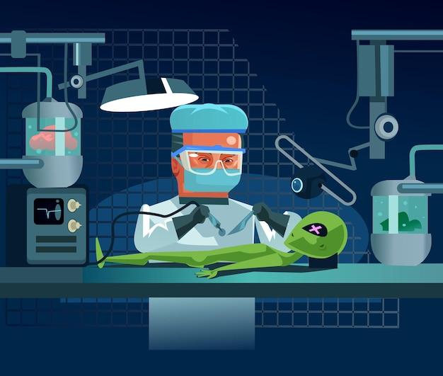 Ученый доктор человек персонаж рассекает инопланетянина