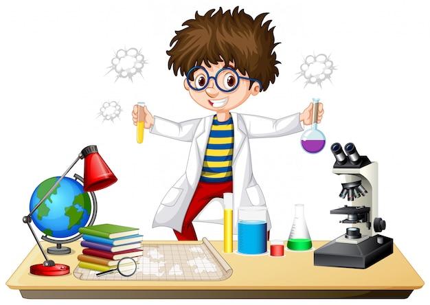 Ученый делает эксперимент в научной лаборатории Бесплатные векторы