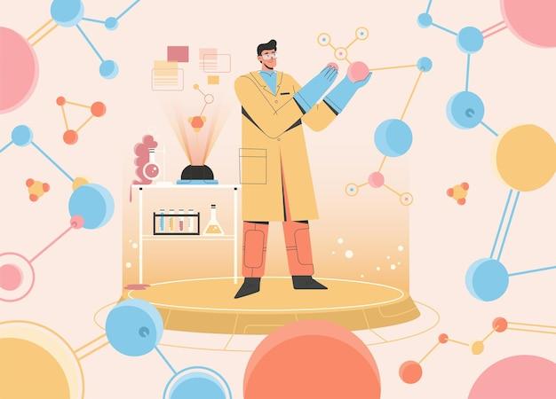 과학자는 실험실에서 과학 실험을하고