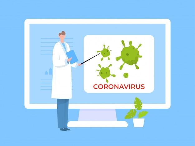 コロナウイルス、概念図について説明する科学者。メディカルコートを着た男が画面上に世界的な微生物を表示