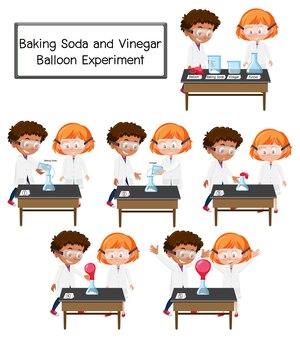 Ученый объясняет научный эксперимент с пищевой содой и уксусом