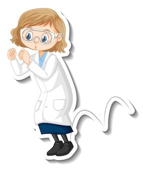 Ученый девушка мультипликационный персонаж делает прыжковый эксперимент