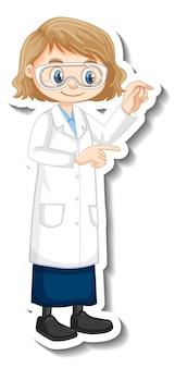 立っているポーズで科学者の女の子の漫画のキャラクター