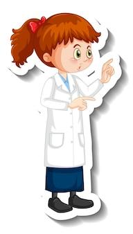 Ученый девушка мультипликационный персонаж в позе стоя