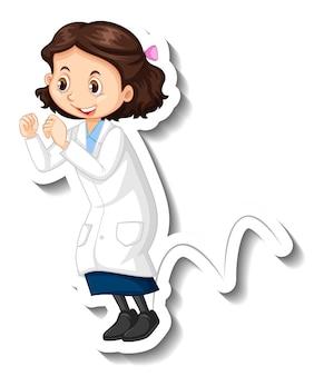Il personaggio dei cartoni animati della ragazza dello scienziato fa l'esperimento di salto
