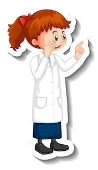 Personaggio dei cartoni animati della ragazza dello scienziato in posa in piedi