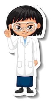 Scientist girl cartoon character sticker