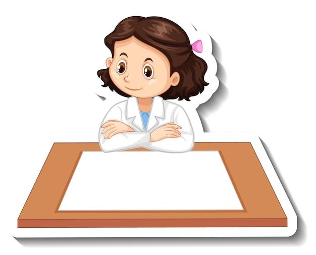 空白のテーブルを持つ科学者の女の子の漫画のキャラクター