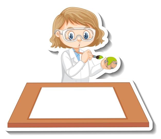 Ученый девушка мультипликационный персонаж с пустой таблицей