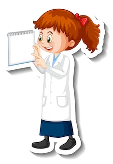 Scientist girl cartoon character with science experiment object