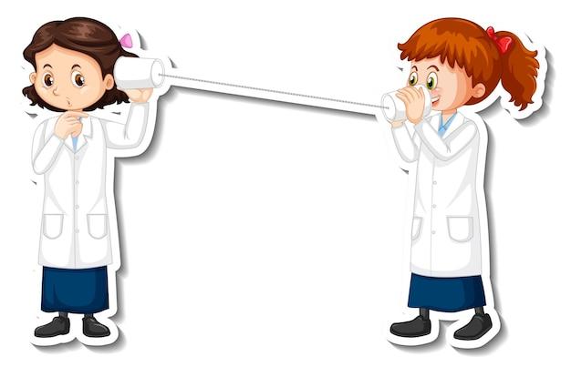 과학 실험 개체와 과학자 여자 만화 캐릭터