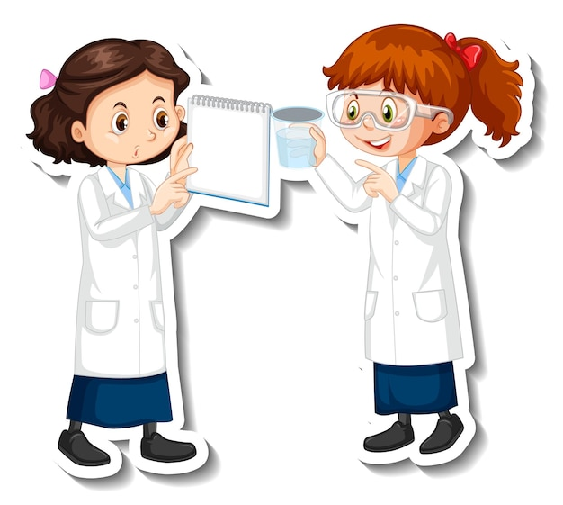 Scientist girls cartoon characters with science experiment object