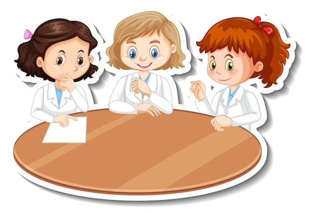 Personaggi dei cartoni animati di ragazze scienziate con oggetto esperimento scientifico