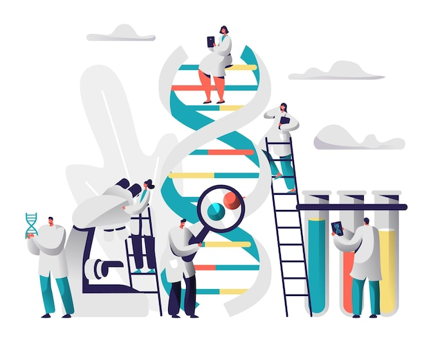 Scientist group explore genome pair in dna cell image.