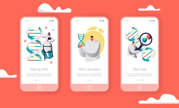 Scientist group explore genome pair in dna cell mobile app page onboard screen set.