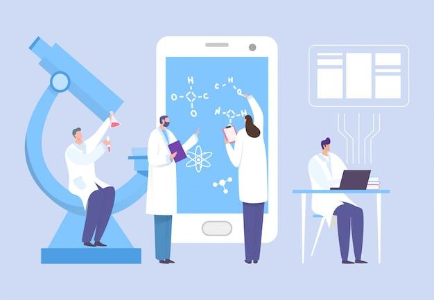 研究室の概念図で働く科学者グループ。男性と女性が電子機器でワクチン処方を処方