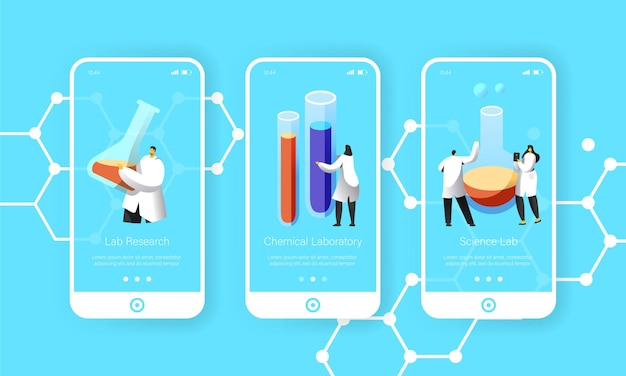 과학자는 화학 액체 모바일 앱 페이지 온보드 화면 세트로 유리 플라스크를 들고 있습니다.
