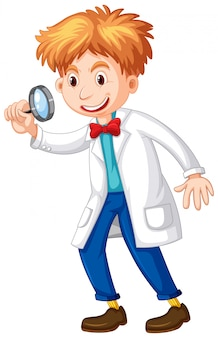 Scientist holding magnifying glass in hand