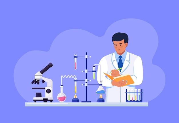 科学者は自分の手でフォルダを持ち、テストデータを書き留めます。
