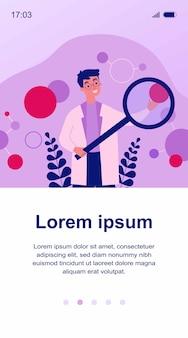 Ученый в иллюстрации алгоритма проверки лабораторного халата. мультипликационный персонаж с лупой исследует искусственные нейроны. концепция науки, техники и нейробиологии