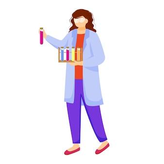 Ученый в лабораторном халате с защитными очками плоской иллюстрации. изучаю медицину, химию. проведение эксперимента. женщина с пробирками изолировала мультипликационный персонаж на белом фоне