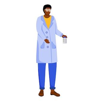 Ученый в лабораторном халате с защитными очками плоской иллюстрации. изучаю медицину, химию. лабораторный эксперимент. женщина с химическими веществами может изолировать мультипликационный персонаж на белом фоне