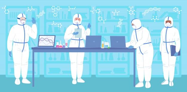 研究室の科学者、防護服、マスク。フラット漫画化学実験室研究。コロナウイルスの発見コンセプトワクチン。科学者のフラスコ、顕微鏡、コンピューターの抗ウイルス開発。