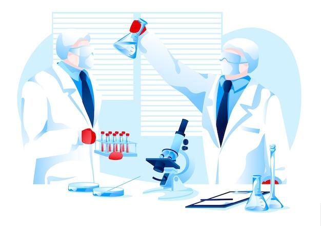 パンデミックの研究用ワクチンを作る保護スーツの科学者