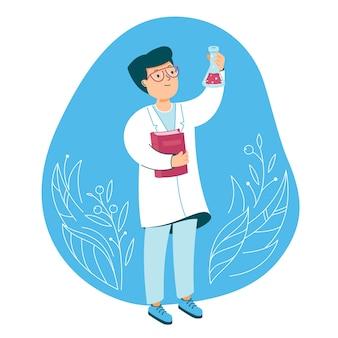 Ученый в лаборатории химии делает химический эксперимент