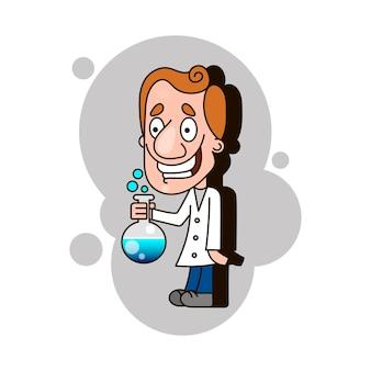 Ученый ребенок держит взрывающуюся пробирку