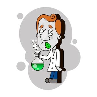 Scientist kid holding an exploding test tube