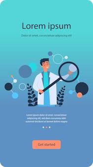 Scientist in lab coat checking algorithm flat