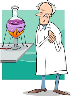 Scientist in laboratory cartoon illustration