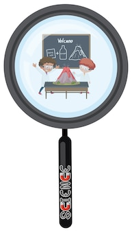 Scientist in magnifying glass isolated
