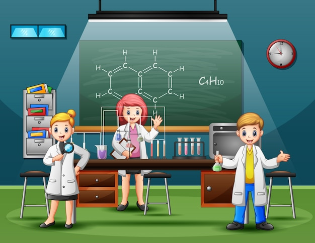 Scientist male and female making research and experiments