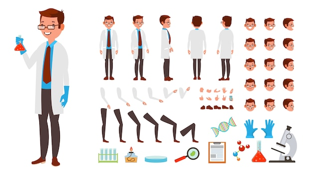 Scientist man character set