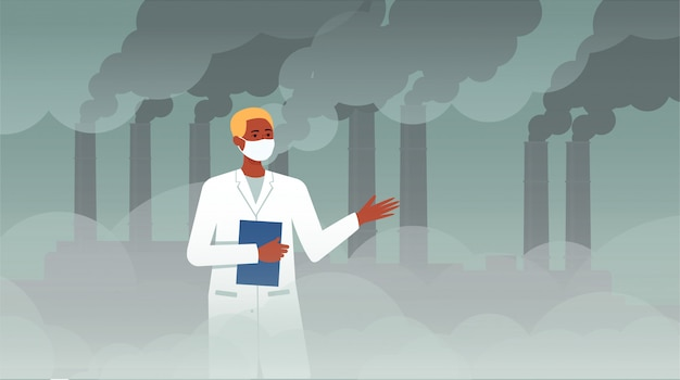 Scientist man in front of chemical plat with pipe smoke discussing ecology and air pollution, cartoon character in lab coat on dystopian factory fog, flat vector illustration
