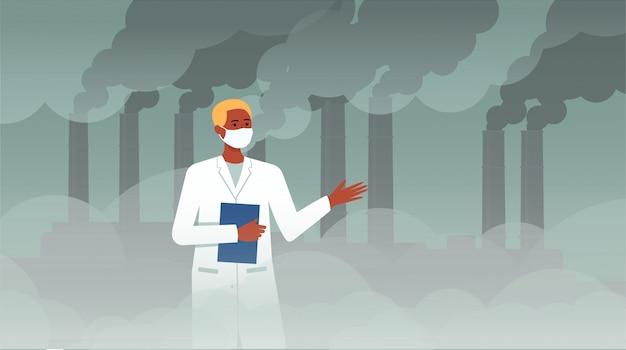 Ученый человек перед химической платой с трубчатым дымом, обсуждая экологию и загрязнение воздуха, мультипликационный персонаж в халате на заводском тумане, плоская векторная иллюстрация