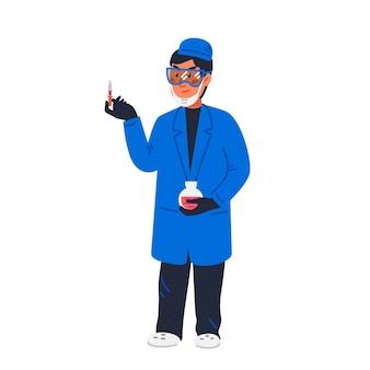 Ученый - ученый в лабораторном халате проверяет красное вещество в капельнице