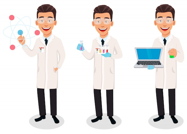 Scientist man, set of three poses