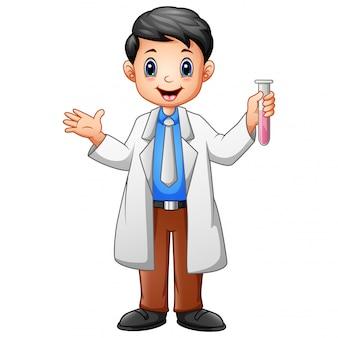 Scientist men holding test tube