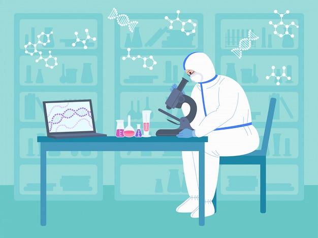 과학자 남자는 보호 복에 현미경을 사용합니다. 화학 실험실 연구 평면 만화 캐릭터입니다. 디스커버리 백신 코로나 바이러스. 과학자 플라스크, 현미경, 컴퓨터 작동 항 바이러스 개발