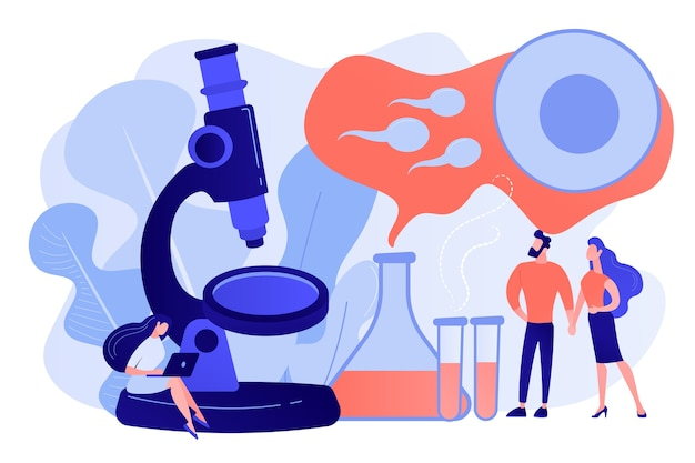 Scientist on microscope working on infertility treatment for couple. infertility, female infertility causes, sterility medical treatment concept. pinkish coral bluevector vector isolated illustration
