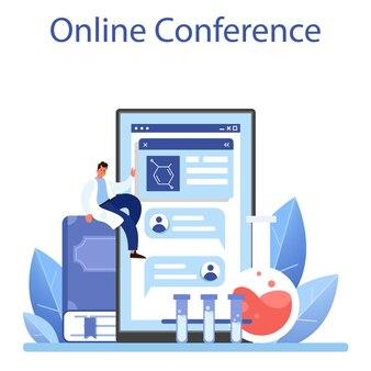 Онлайн-сервис или платформа для ученых. идея образования и инноваций. биология, химия, медицина. онлайн-конференция. плоские векторные иллюстрации