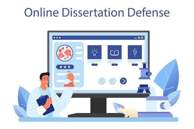 Онлайн-сервис или платформа для ученых. идея образования и инноваций. биология, химия, медицина. интернет-защита диссертации. плоские векторные иллюстрации