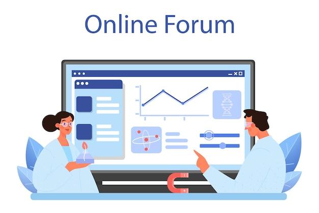 과학자 온라인 서비스 또는 플랫폼. 교육 및 혁신의 아이디어입니다. 생물학, 화학, 의학. 온라인 포럼. 평면 벡터 일러스트 레이 션