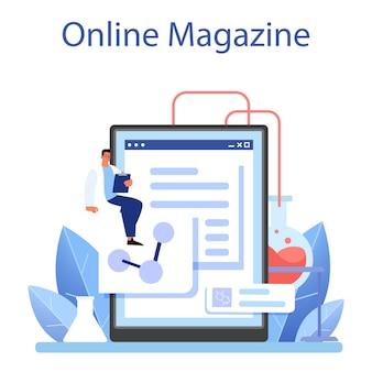 과학자 온라인 서비스 또는 플랫폼. 교육 및 혁신의 아이디어입니다. 생물학, 화학, 의학. 온라인 잡지. 평면 벡터 일러스트 레이 션