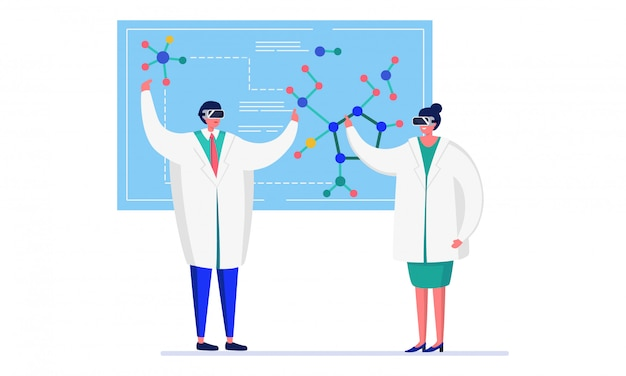 Scientist people in innovation laboratory  illustration, cartoon  doctors working on research in chemistry  on white